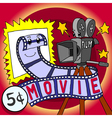cartoon skit movie film and cinecamera happy vector image