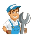 construction or industrial worker holding wrench vector image