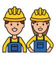 couple builders workers with helmets vector image