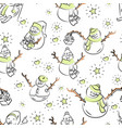 cute snowmen repeated in winter holiday pattern vector image vector image