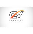 cv c v swoosh letter logo design with modern vector image vector image