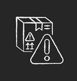 dangerous cargo chalk white icon on black vector image vector image