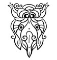 decorative owl sketch on white background vector image