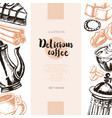 delicious coffee - color hand drawn composite vector image vector image