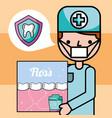 dentist boy oral hygiene dental floss banner vector image
