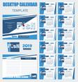 desktop calendar 2019 with fish logo vector image vector image