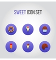 Flat icon set with sweet and tasty cake ice-cream vector image