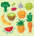 happy cartoon fruits and garden vegetables vector image vector image
