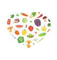 heart of cartoon vegetables healthy food vector image
