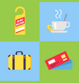 hotel-themed isolated icons on blue and green vector image vector image