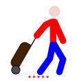man with suitcase icon color fill style vector image