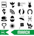 march month theme set of simple outline icons vector image vector image