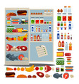 open fridge full of delicious food and drinks vector image vector image