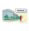 sadness man worker carrying box with things vector image vector image