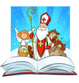 saint nicholas devil and angel vector image vector image