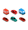 set different types automobiles bus vector image vector image