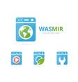 set laundry logo combination washing machine vector image vector image