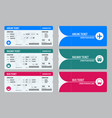 set of tickets airplane bus and train travel vector image vector image