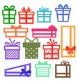 set silhouette gift boxes collection vector image