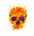 skull made colorful splashes vector image vector image