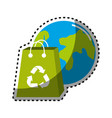 sticker planet and bag to recycle environment icon vector image vector image