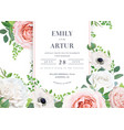 stylish floral wedding invite card with flowers vector image vector image