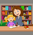 teacher helping pupil studying in library vector image