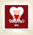 valentines day greetings card red pattern vector image