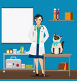veterinarian and cat in doctor office vector image vector image