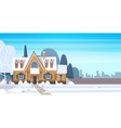 village winter landscape house building with snow vector image vector image