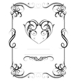 Vintage frame with heart shape vector image vector image