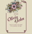 wedding invitation and announcement card with vector image vector image