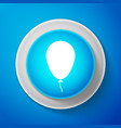 white balloon with ribbon icon on blue background vector image vector image