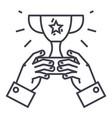 winner cuptrophy in handschampion victory vector image vector image