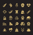 winter xmas silhouette gold icons isolated on vector image