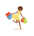 young black beautiful woman running with a lot of vector image vector image