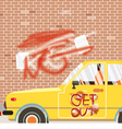 Spraying Inscription Get Out On Car And Wall vector image