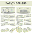 20 dollars banknote cartoon us currency vector image vector image