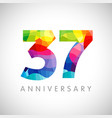 37 anniversary colorful facet logo vector image
