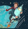 a businessman flies on rocket startup vector image