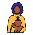 black mother with baby daughter characters vector image vector image