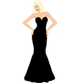 blonde woman in black dress vector image