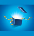 blue opened 3d realistic gift box with magical vector image vector image