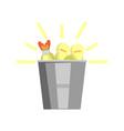 bucket full of light bulbs icon vector image vector image