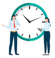 business project deadline big clock and workers vector image vector image