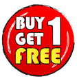 buy one get 1 free sticker white and yellow vector image