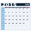 Calendar 2015 July design template vector image vector image