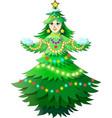 christmas tree girl vector image vector image