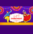 couple playing dandiya in disco garba night poster vector image vector image