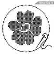 cross stitch hand made black cosmos flower on vector image vector image